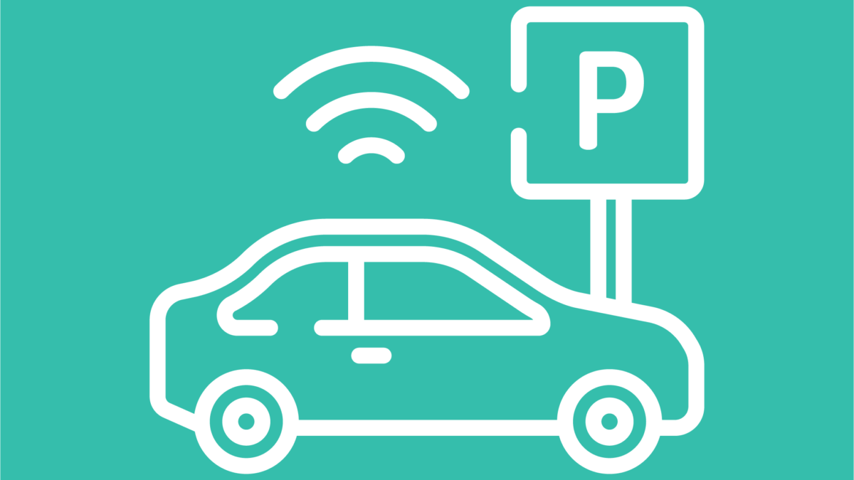White car parking icon with aqua background