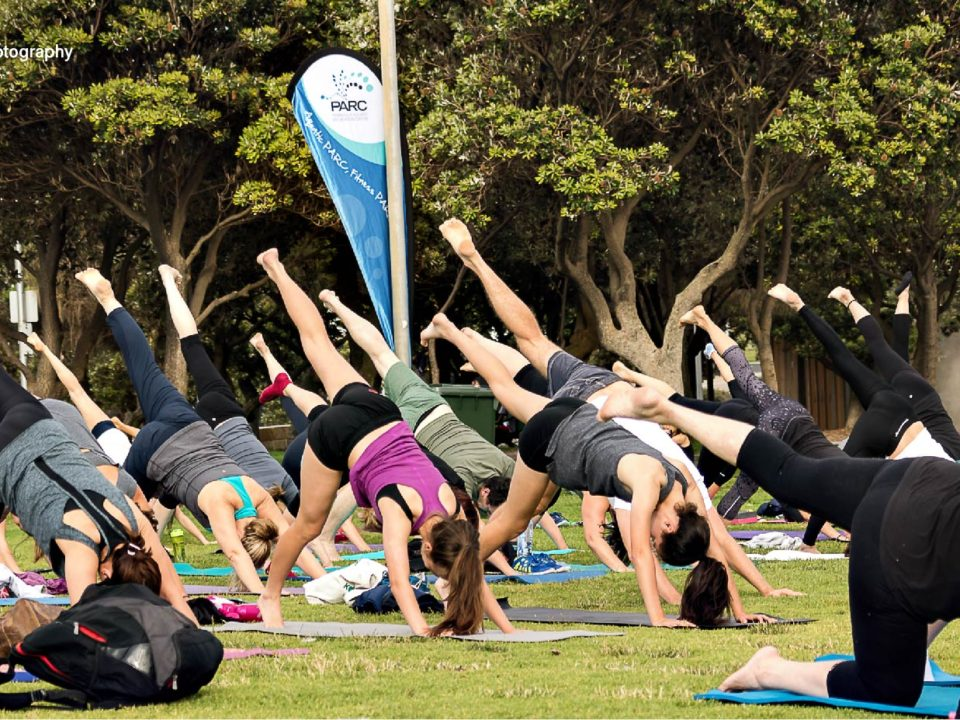 People doing yoga outside on the grass