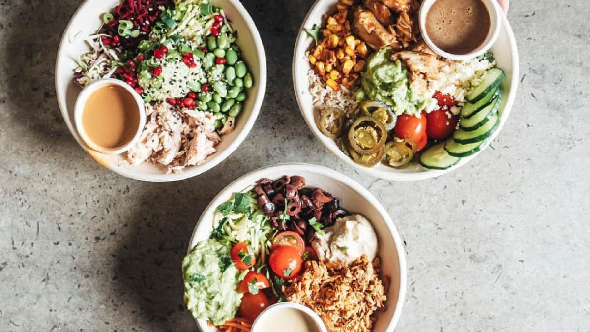 Bowls of healthy food
