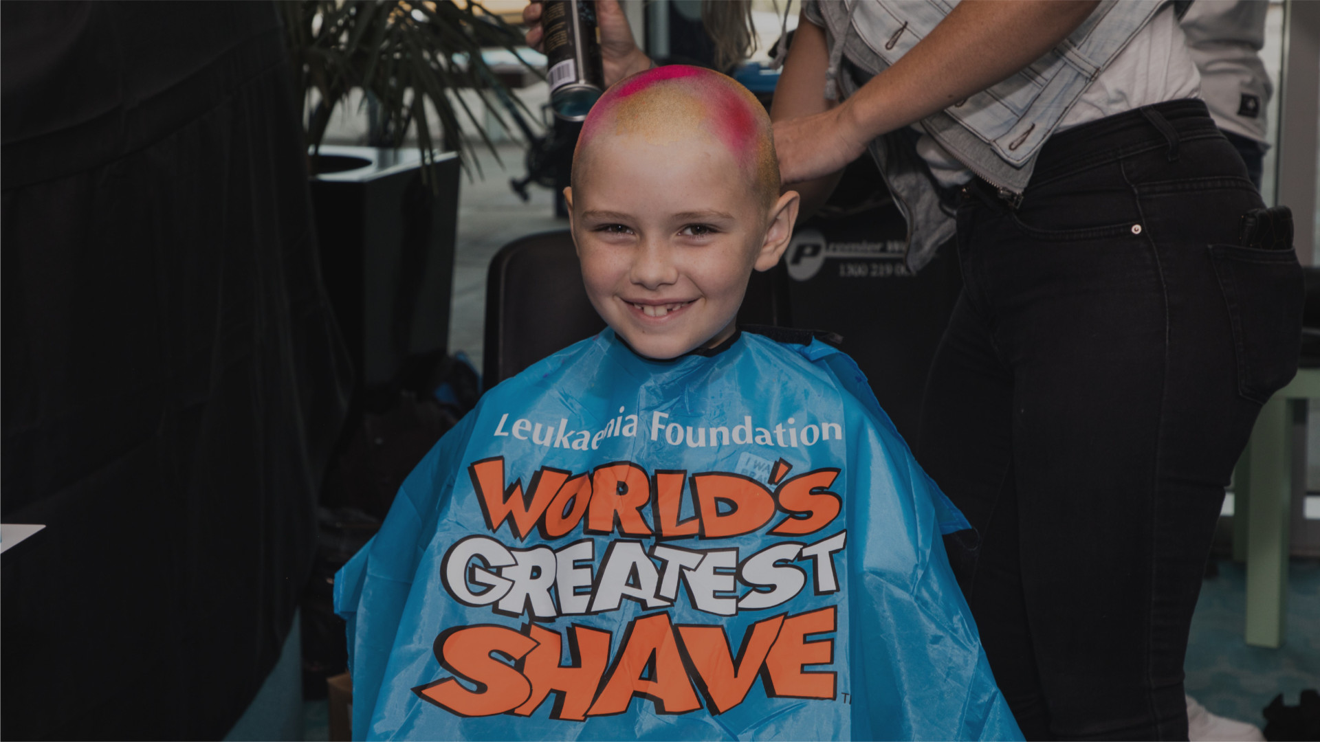 Child with shaved head